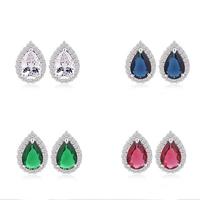 ForLove water drop Sterling Silver  Zircon stud Earring  for women wedding 2015 Jewelry
