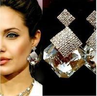2014 New Arrived Fashion Austrian Crystal Earrings Water Drop Wedding Earrings Angelina Jolie Goden Earrings For Women XHP028