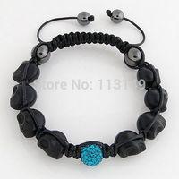 Free Shipping Wholesale Trendy Jewelry Black Turquoise Stone Beaded Handmade Woven Macrame Skull Head Bracelets PSBA06-1