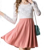 2014 autumn  winter explosion models Korean Women Slim waist lace long-sleeved dress big swing big yards