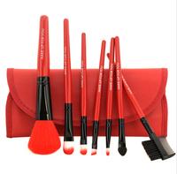 Free Shipping 7 pcs Professional Cosmetics Makeup Brush Set Make-up Toiletry Kit Wool Brand Make Up Brush Set Case