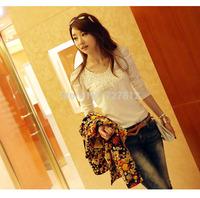 Fall 2013 new women's long sleeve shirt joker render unlined upper garment series side bud silk t-shirts