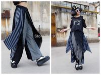 Mix-color Women Plaid Casual  Hip Hop Dance Baggy Harem Pants Wide-leg Loose Pants Harem Hippie Trousers Free Size FS3072