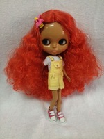 Free shipping Nude dolls(red  hair,black skin )
