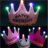 2pcs/lot Children birthday and newyear LED light crown headwear birthday party shine decoration supplies