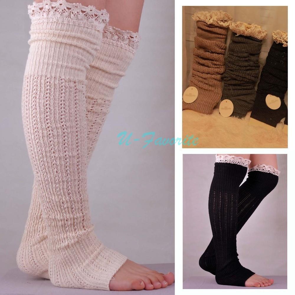 2018 Wholesale Fashion Women Knit Boot Cuffs Acrylic Lace Twist ...