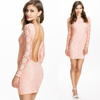 Floral Lace Printed Long Sleeve Autumn Dress 2014 Elegant Backless Casual Bodycon Dress Sexy Party Dresses Women Desigual P0949