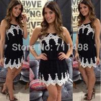 Women fashion retro black Pinched waist strap dress with white lace flower vestidos