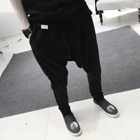 2014 Fashion Brand Cotton Drop Crotch Pants Men Outdoors Skinny Joggers Sweatpants Hip Hop Harem Baggy Casual Trousers Men Pants