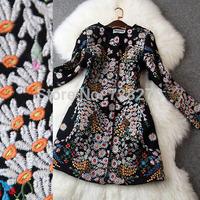 2014 Winter Coat  Fashion Vintage Outerwear Embroidery Woolen Long Design Woolen Overcoat Plus Size L XL