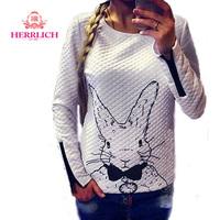 Plus Size Spring Autumn Womens Hoody 2014 Long Sleeve Rabbit Printed Ladies Sweatshirts Casual Pullover Women Hoodie Tops H12911