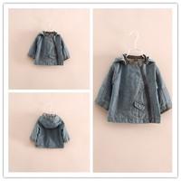 Hu sunshine wholesale NEW 2014 Girls fashion long-sleeved Features oblique zipper hooded cowboy denim jacket WW11272594H