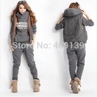 Hot 2014 Winter Women Costumes Letter Printed Sweatshirt Leisure Sport Suit Women Hoody Hoodies + Panty + Vest 3pcs Sets