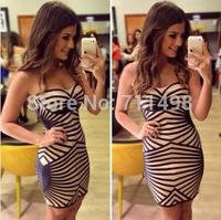 New fashion Geometric patterns print off shoulder dress striped stitching nightclub mini dress sexy vestidos