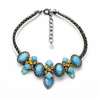 blue acrylic retro statement mediterranean black and white color bijou high fashion necklace free shipping xl01204