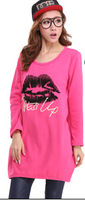 2014 new winter plus size thick warm round neck long-sleeved female models long style t-shirt