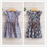 Hu sunshine wholesale new 2014 fashion high quality Kids summer cotton floral dress with belt WW11272586H