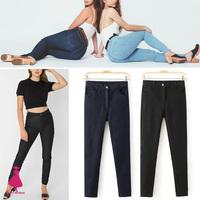 New Arrivals American Apparel AA Street Winter Fashion Woman Retro Plus Velvet High Waist Denim Jeans Pencil Pants Trousers Hot