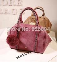 European and American fashion casual shoulder bag lady rabbit fur ball decoration bat bag handbag messenger bag free shipping