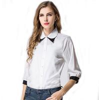 Europe  United States hit color double collar white shirt sleeve chiffon shirt women large size shirt