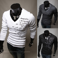 Free Shipping 2014 New Men Fashion Long Sleeve Letter O-neck Designed Thicken Shirts Drop Shipping
