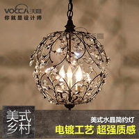 [ Wojia ] Lighting Mediterranean minimalist American country crystal lamps bedroom living room dining wrought iron chandelier