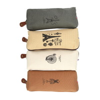 1pc High Quality Retro Canvas Pencil  Case Pencil Bag Cosmetic Coin Wallet Storage Purse Cosmetic Makeup Coin Pouch Zipper Bag