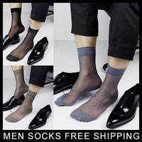 High quality New Men's Sheer Silk socks Transparent Sexy Gay Sock fetish Dress suit Formal sock Free shipping