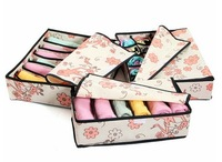 Free shopping a set (three boxes)  Non-Woven Fabric   storage box  with pattern of pink flowers