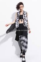 Punk Style Women Girl Lady Hip Hop Harem Pants Big-pocket Plaid Casual Pants Street Dance Pants Black Free Size FS3031