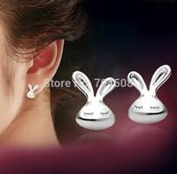FD1202 Silver Plated Earring Stud Sweet Cute Sleeping Rabbit Silver Earring Stud