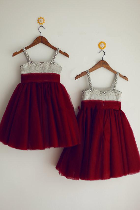 Vacances rouge princesse petites filles de noël robe perles a - line cheville longueur toddler fille de noël robe parti robes pour enfants(China (Mainland))