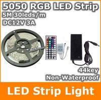 5050 RGB led strip 5M 150Leds 30Leds/m Red bulb green Warm white Strips lighting + 44Key IR Remote Control + 3A US/UK/AU Power