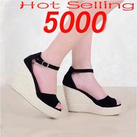 New 2014Women Gladiator Sandals Buckle Open Toe Straw Braid Wedges Platform Ladies High Heel Sandal Summer Shoes Free shipping