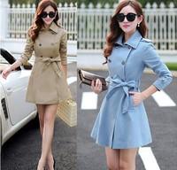 Plus Size M-XXXL 2015 Korea Fashion Spring Autumn Women Cotton Elegant Slim England Plaid Lining Trench Coat Casual Outerwear
