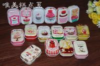 New sale!Free Shipping Beautiful cake Series high quality mini Tin Storage box 32 pcs per lot  iron case / storage case