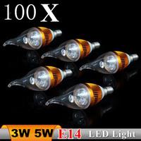 100X Free shipping E14  85-265V Warm white 3W 5W LED Candle Light LED bulb lamp LED spot Light