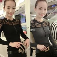 2014 New Women's Slim Pullover Fashion lace tops Casual Blusas Sexy Sheer Shirts Charming Elegant Cute Black&Gray b9 CB033576