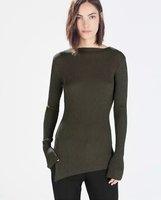 casual  shelves irregular split collar knit sweater bottoming bottoming shirt Slim