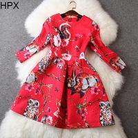 Women Fashion Casual Animal Rabbit Owl Squirrle Floral Print Jacquard Ball Gown Dress 2014 Autumn Winter New Brand European