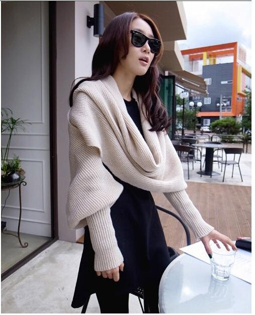 High Quality New fashion Unisex Winter knitting Wool Collar Neck Batwing Sweater Wrap Long Sleeve Coat Cardigan Scarf(China (Mainland))