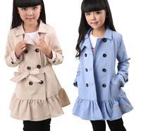 Free Shipping Girl Coat New Fashion kids Girls falbala overcoat baby Children's parka jackets