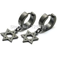 Gift for friend 4MM width Six-pointed star pendent titanium steel punk Men earrings White/Black 2 colors for choose EM0010
