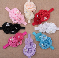 Free shipping crystal & pearls Newborn Baby girls floral headbands Hairbands Children's flower headbands Hairbands