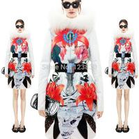 luxury top quality New Women Fashion Genuine Fur  2014 Large Raccoon Fur  print Collar Duck  down jacket New Hot selling D360