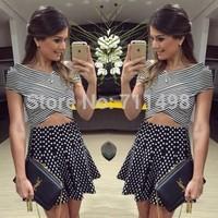 2014 Fall European and American New V-neck cross-striped short-sleeved dress dot print 2 piece vestidos