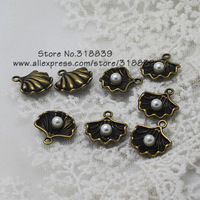 (40 pieces/lot) 14*15mm Antique Bronze Metal Alloy Lovely White Pearl Shell Charms Jewelry Charms Pendant 7796