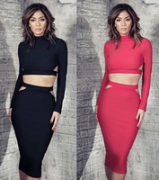 Autumn winter 2014 New Women Cutout 2 two Piece Long Sleeve Knee Length Bodcon Dress Black And Red Party dress