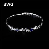 BWG Fashion Jewelry Trend Bracelets Silver Plated A+++ Blue Cubic Zirconia Copper Bracelet For Women SS1008