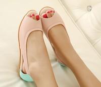 New 2014 Sandals Open Toe Shoe Fashion Flat Heel Maternity Sandal Summer Cutout Women Genuine  Soft Leather Comfortable Shoes